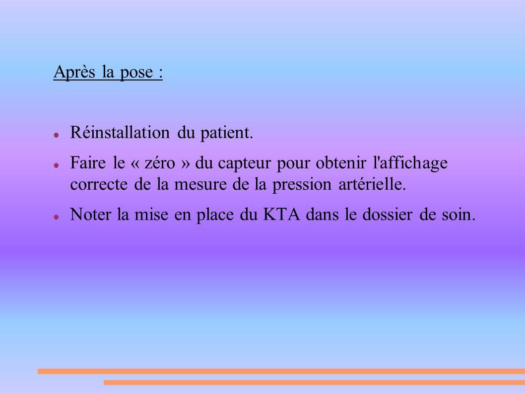 Après la pose : Réinstallation du patient. Faire le « zéro » du capteur pour obtenir l'affichage correcte de la mesure de la pression artérielle. Note