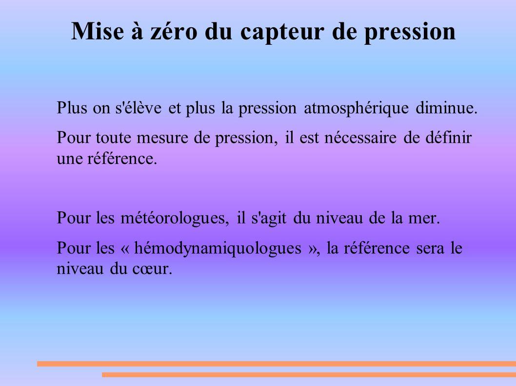 Mise à zéro du capteur de pression Plus on s'élève et plus la pression atmosphérique diminue. Pour toute mesure de pression, il est nécessaire de défi