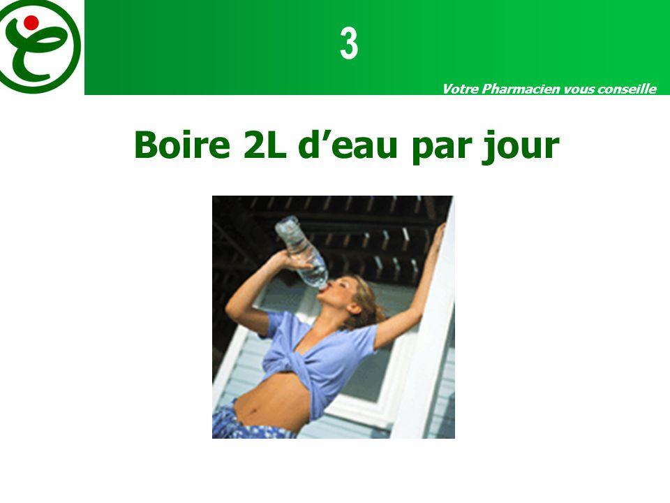 Votre Pharmacien vous conseille Boire 2L deau par jour 3