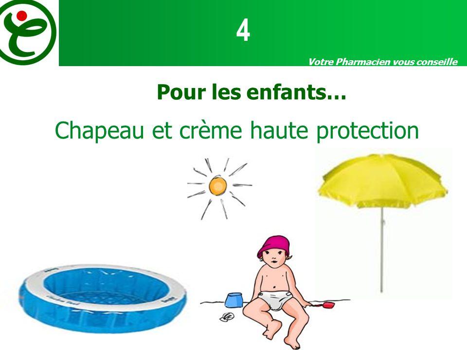 Votre Pharmacien vous conseille Pour les enfants… Chapeau et crème haute protection 4