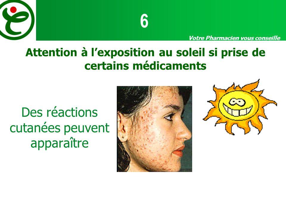 Votre Pharmacien vous conseille Attention à lexposition au soleil si prise de certains médicaments Des réactions cutanées peuvent apparaître 6