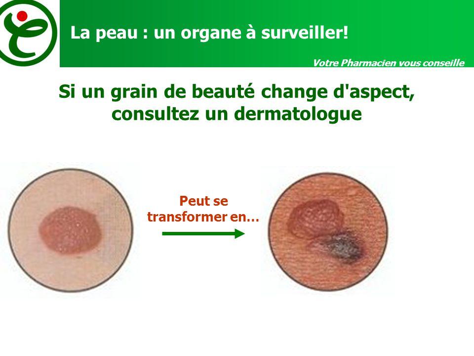 Votre Pharmacien vous conseille La peau : un organe à surveiller! Si un grain de beauté change d'aspect, consultez un dermatologue Peut se transformer