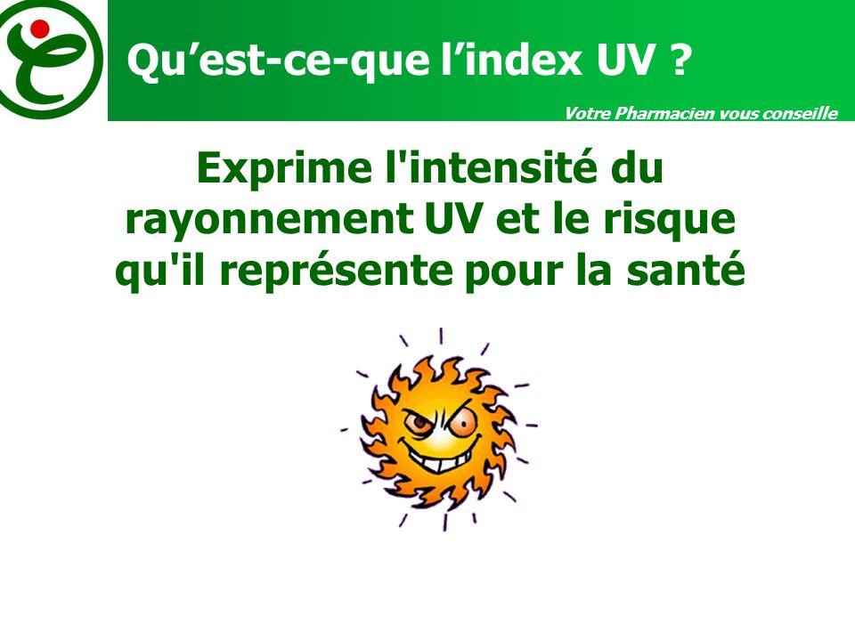 Votre Pharmacien vous conseille Quest-ce-que lindex UV ? Exprime l'intensité du rayonnement UV et le risque qu'il représente pour la santé