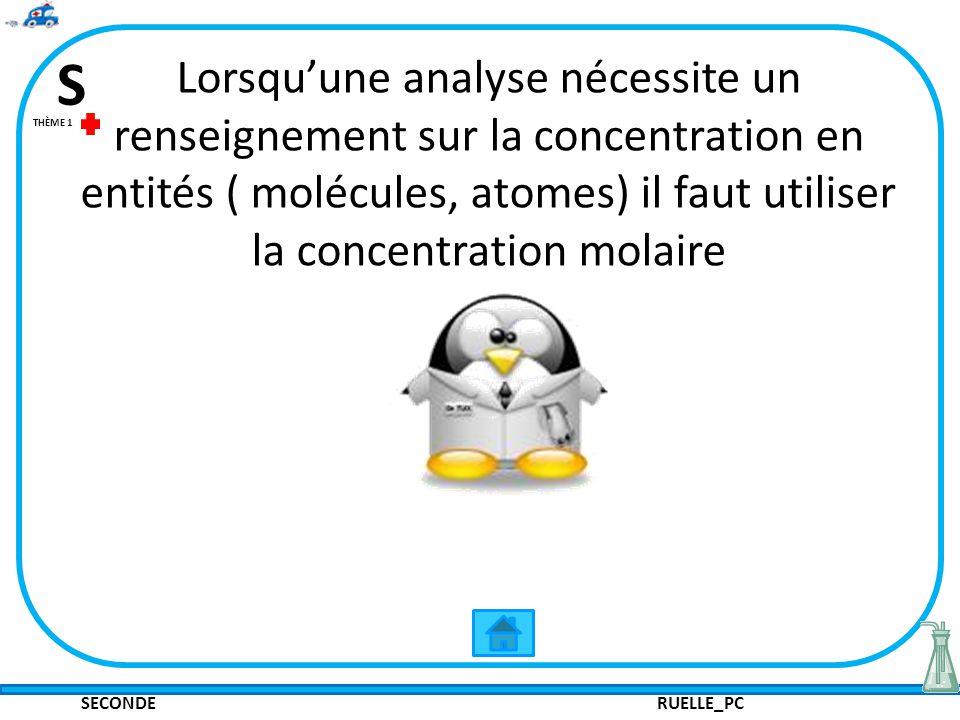 SECONDE RUELLE_PC S THÈME 1 Lorsquune analyse nécessite un renseignement sur la concentration en entités ( molécules, atomes) il faut utiliser la conc