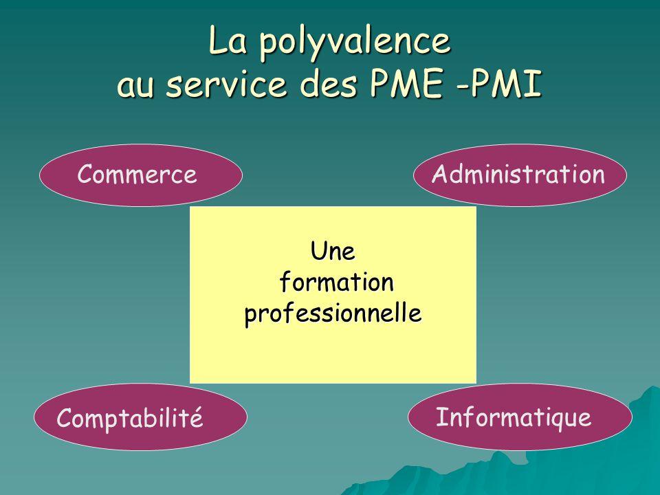 La polyvalence au service des PME -PMI Une formation professionnelle formation professionnelle Administration Comptabilité Commerce Informatique