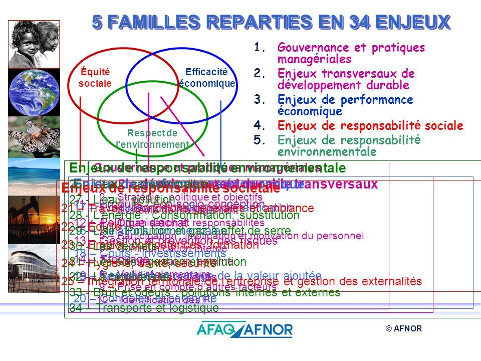 © AFNOR 5 FAMILLES REPARTIES EN 34 ENJEUX Respect de l'environnement Équité sociale Efficacité économique Gouvernance et pratiques managériales 1 – En
