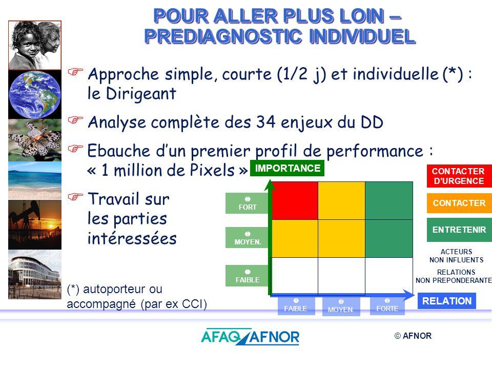 © AFNOR POUR ALLER PLUS LOIN – PREDIAGNOSTIC INDIVIDUEL Approche simple, courte (1/2 j) et individuelle (*) : le Dirigeant Analyse complète des 34 enj