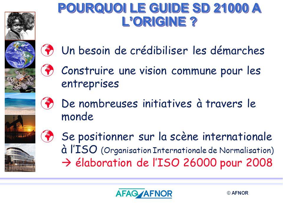 © AFNOR POURQUOI LE GUIDE SD 21000 A LORIGINE ? Un besoin de crédibiliser les démarches Construire une vision commune pour les entreprises De nombreus