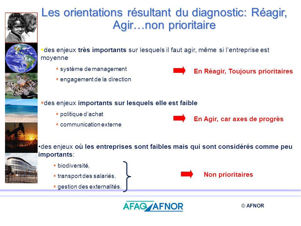 © AFNOR des enjeux où les entreprises sont faibles mais qui sont considérés comme peu importants: biodiversité, transport des salariés, gestion des ex