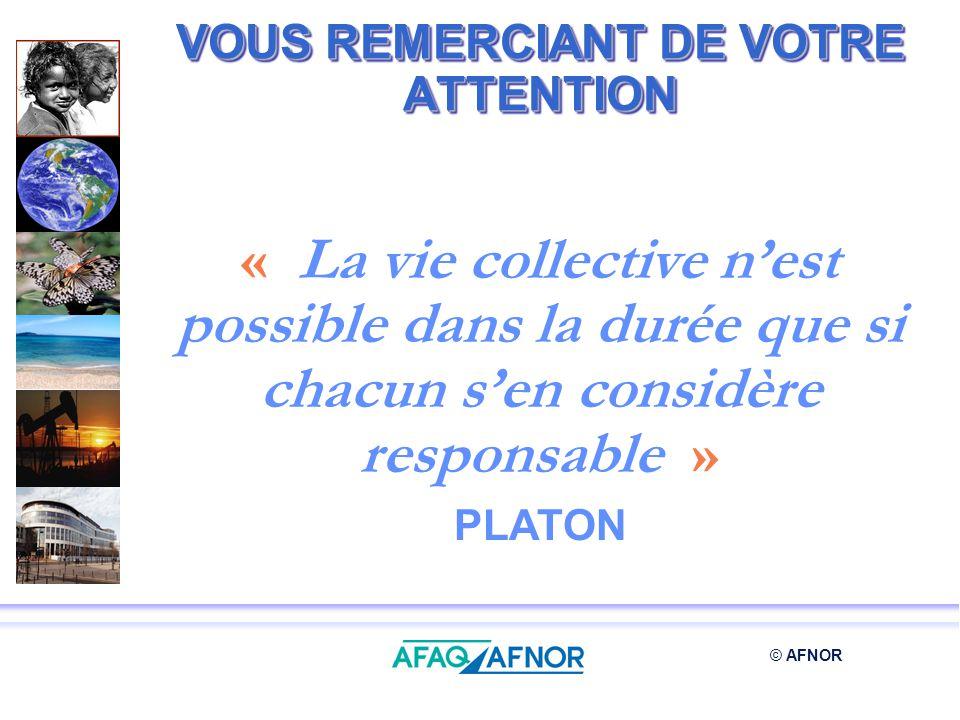 © AFNOR VOUS REMERCIANT DE VOTRE ATTENTION « La vie collective nest possible dans la durée que si chacun sen considère responsable » PLATON