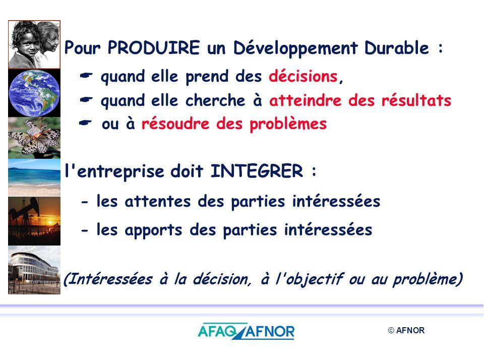 © AFNOR Pour PRODUIRE un Développement Durable : quand elle prend des décisions, quand elle cherche à atteindre des résultats ou à résoudre des problè