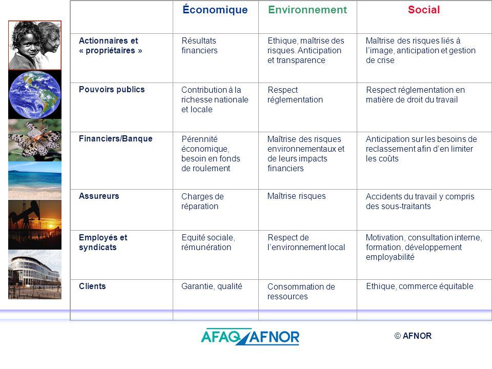 © AFNOR ÉconomiqueEnvironnementSocial Actionnaires et « propriétaires » Résultats financiers Ethique, maîtrise des risques. Anticipation et transparen