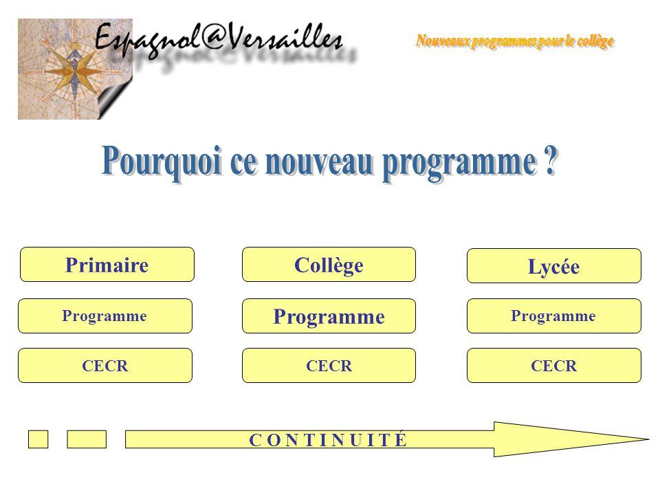 Programme du collège Continuité Hétérogénéité à larrivée en 6° Diversification des dispositifs CECRL Classes bilangues Sections euro en 6° Classes internationales