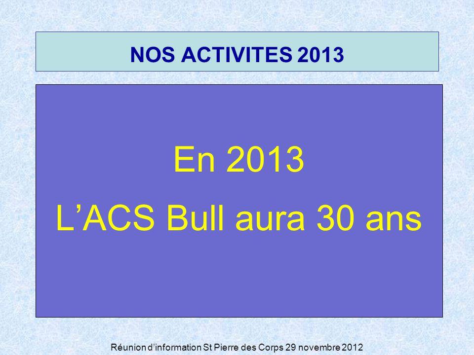 Réunion dinformation St Pierre des Corps 29 novembre 2012 NOS ACTIVITES 2013 En 2013 LACS Bull aura 30 ans