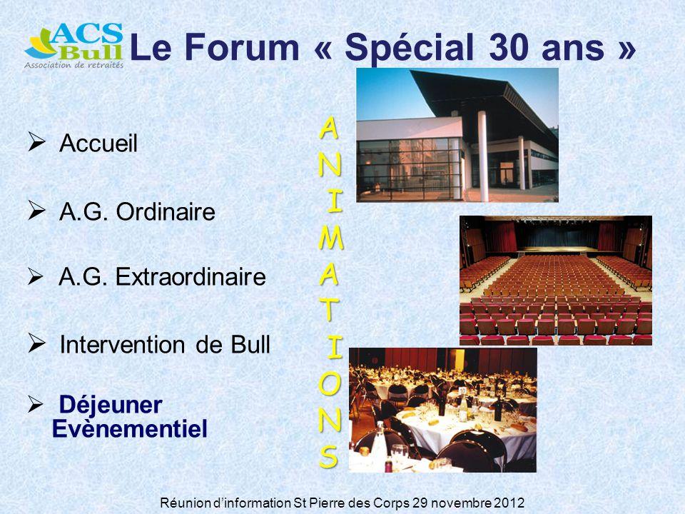 Réunion dinformation St Pierre des Corps 29 novembre 2012 Le Forum « Spécial 30 ans » Accueil A.G.