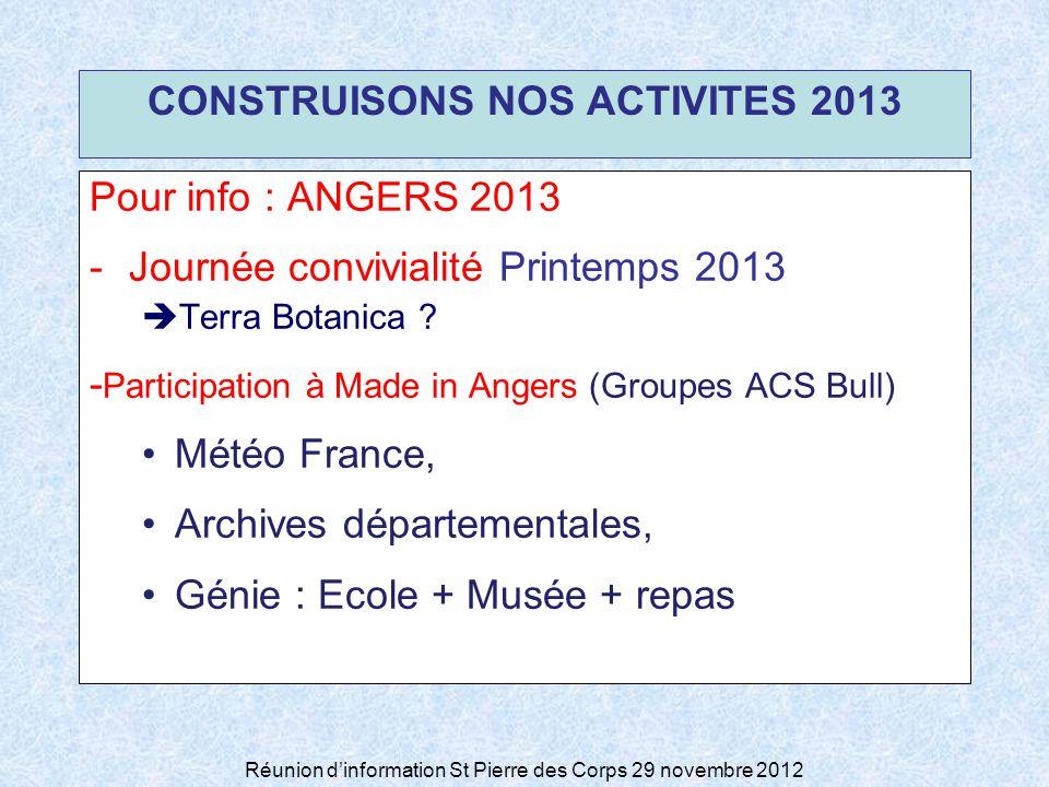 Réunion dinformation St Pierre des Corps 29 novembre 2012 CONSTRUISONS NOS ACTIVITES 2013 Pour info : ANGERS 2013 -Journée convivialité Printemps 2013 Terra Botanica .