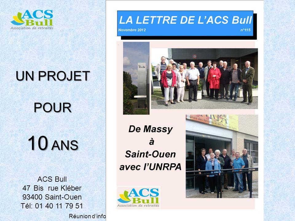 Réunion dinformation St Pierre des Corps 29 novembre 2012 UN PROJET POUR 10 ANS ACS Bull 47Bis rue Kléber 93400 Saint-Ouen Tél: 01 40 11 79 51