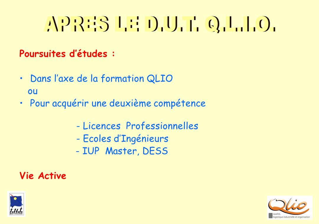POURSUITES Poursuites détudes : Dans laxe de la formation QLIO ou Pour acquérir une deuxième compétence - Licences Professionnelles - Ecoles dIngénieu