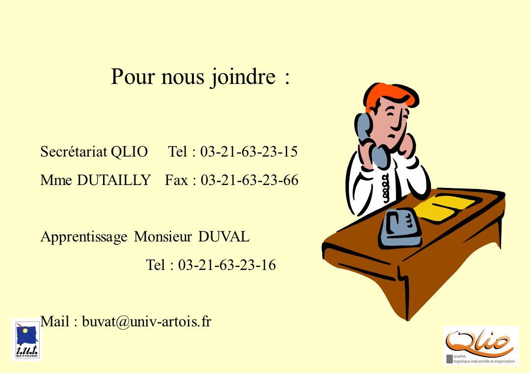 Pour nous joindre Pour nous joindre : Secrétariat QLIO Tel : 03-21-63-23-15 Mme DUTAILLY Fax : 03-21-63-23-66 Apprentissage Monsieur DUVAL Tel : 03-21