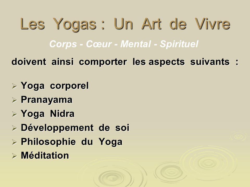 Les Yogas : Un Art de Vivre doivent ainsi comporter les aspects suivants : Yoga corporel Yoga corporel Pranayama Pranayama Yoga Nidra Yoga Nidra Dével