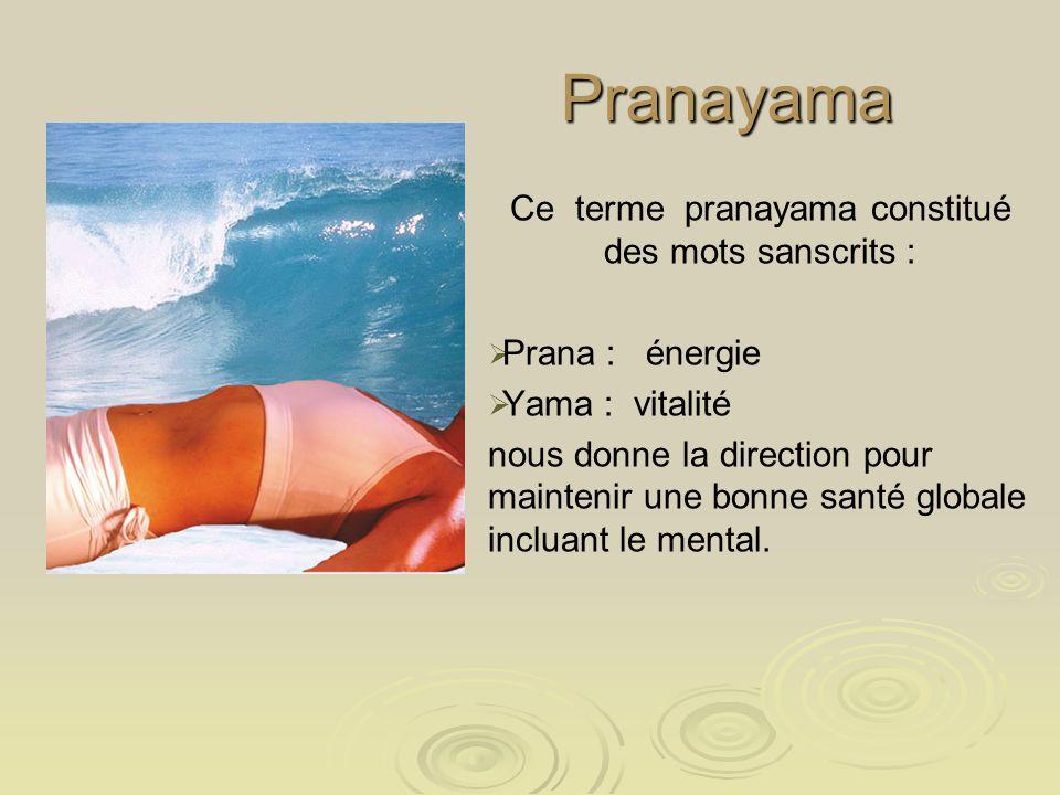 Pranayama Ce terme pranayama constitué des mots sanscrits : Prana : énergie Yama : vitalité nous donne la direction pour maintenir une bonne santé glo