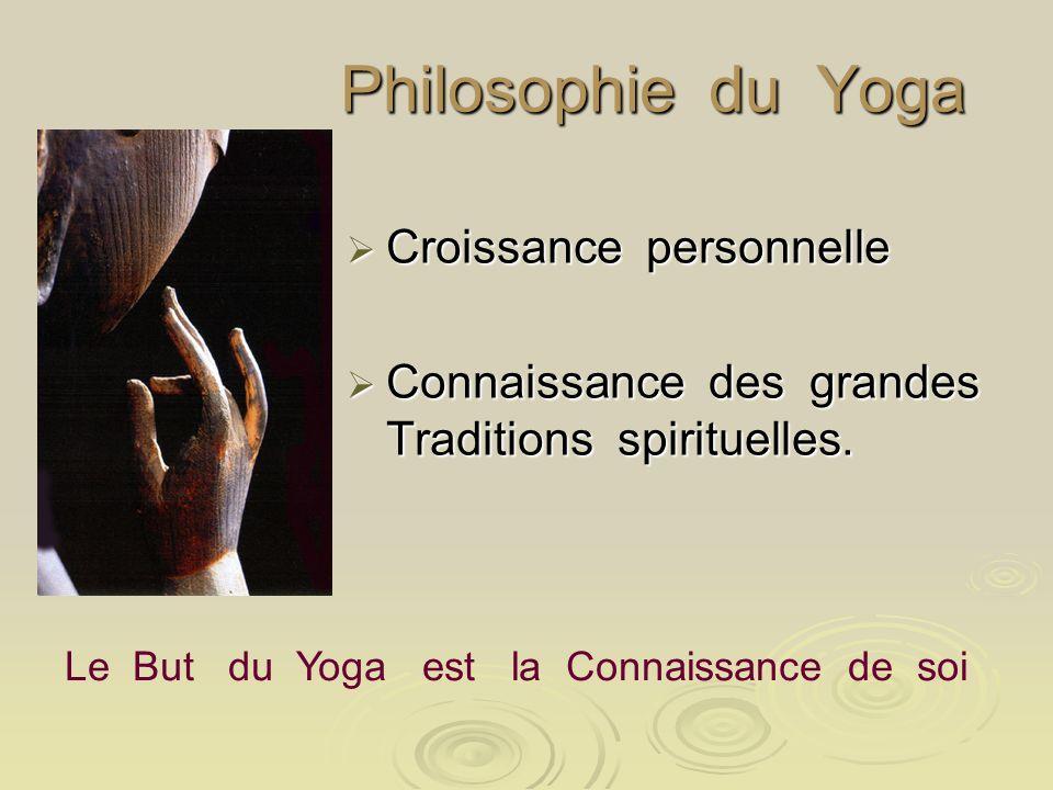 Philosophie du Yoga Philosophie du Yoga Croissance personnelle Croissance personnelle Connaissance des grandes Traditions spirituelles. Connaissance d