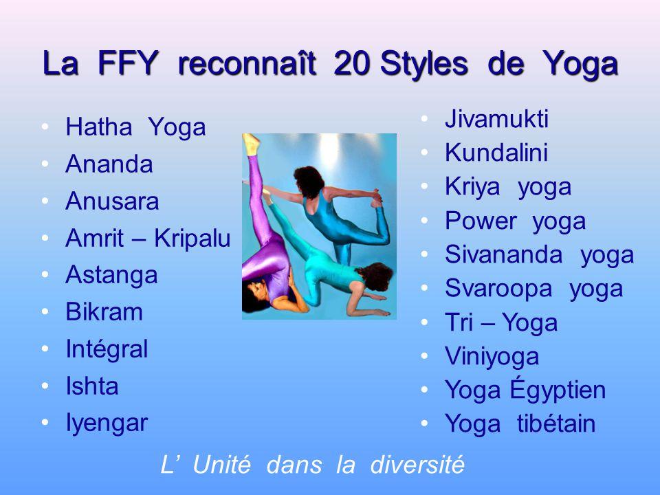 La FFY reconnaît 20 Styles de Yoga Hatha Yoga Ananda Anusara Amrit – Kripalu Astanga Bikram Intégral Ishta Iyengar L Unité dans la diversité Jivamukti