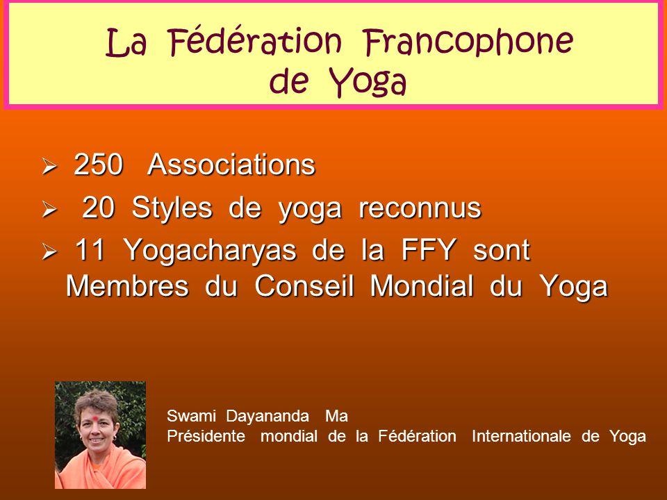 250 Associations 250 Associations 20 Styles de yoga reconnus 20 Styles de yoga reconnus 11 Yogacharyas de la FFY sont Membres du Conseil Mondial du Yo