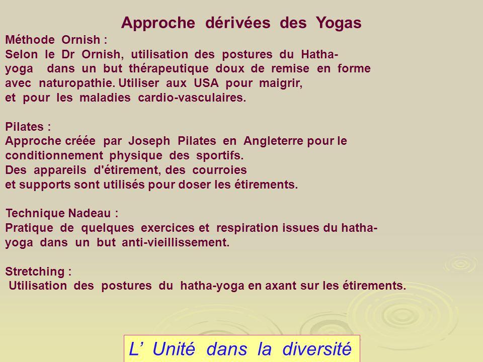 L Unité dans la diversité Approche dérivées des Yogas Méthode Ornish : Selon le Dr Ornish, utilisation des postures du Hatha- yoga dans un but thérape