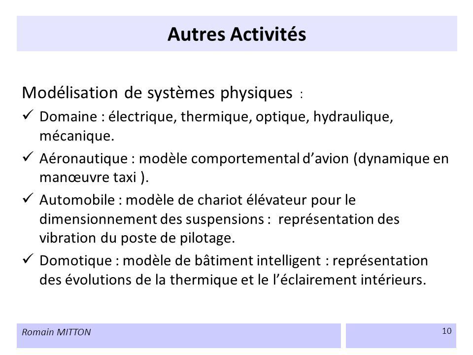 Romain MITTON 10 Autres Activités Modélisation de systèmes physiques : Domaine : électrique, thermique, optique, hydraulique, mécanique. Aéronautique