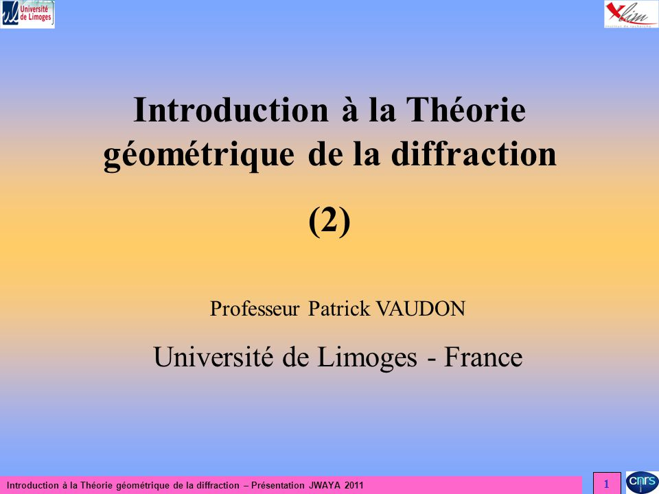 Introduction à la Théorie géométrique de la diffraction – Présentation JWAYA 2011 12 Théorie géométrique de la diffraction Diffraction dune onde plane par un demi-plan Description du problème y x P 0 Champ réfléchi au point P : -Vérifier que la relation ci-dessus caractérise le champ réfléchi au point P pour une onde plane incidente dans la direction 0 - Vérifier les conditions aux limites sur le plan de masse 0