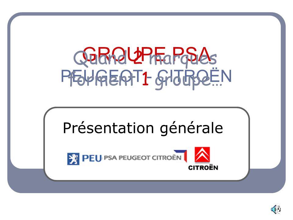 GROUPE PSA PEUGEOT - CITROËN Présentation générale Quand 2 marques forment 1 groupe…