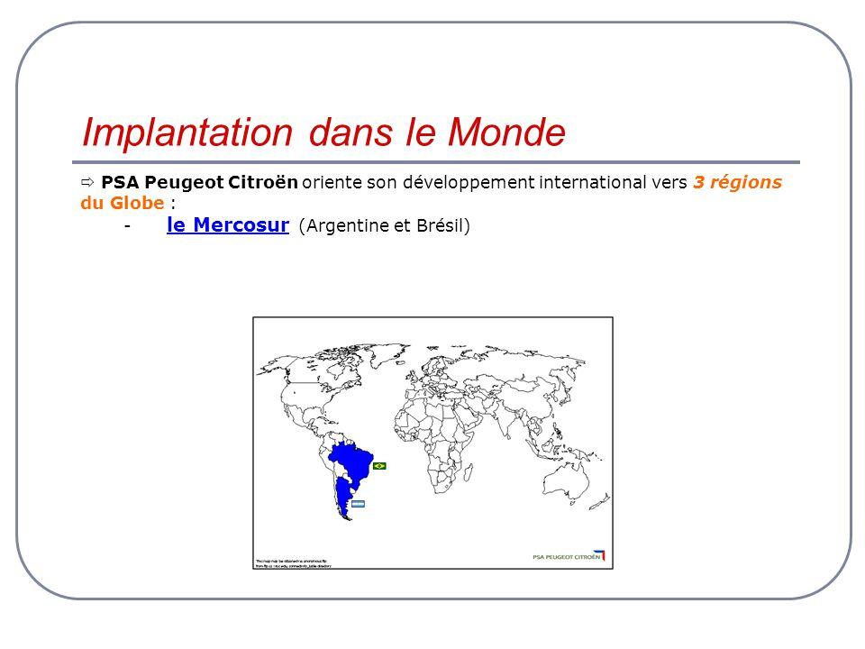 Implantation dans le Monde PSA Peugeot Citroën oriente son développement international vers 3 régions du Globe : - le Mercosur (Argentine et Brésil)