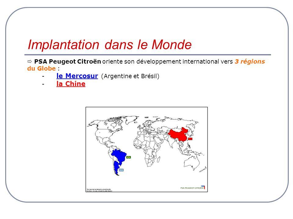 Implantation dans le Monde PSA Peugeot Citroën oriente son développement international vers 3 régions du Globe : - le Mercosur (Argentine et Brésil) -