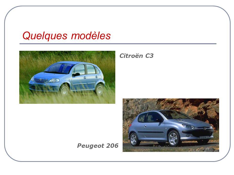 Quelques modèles Peugeot 206 Citroën C3