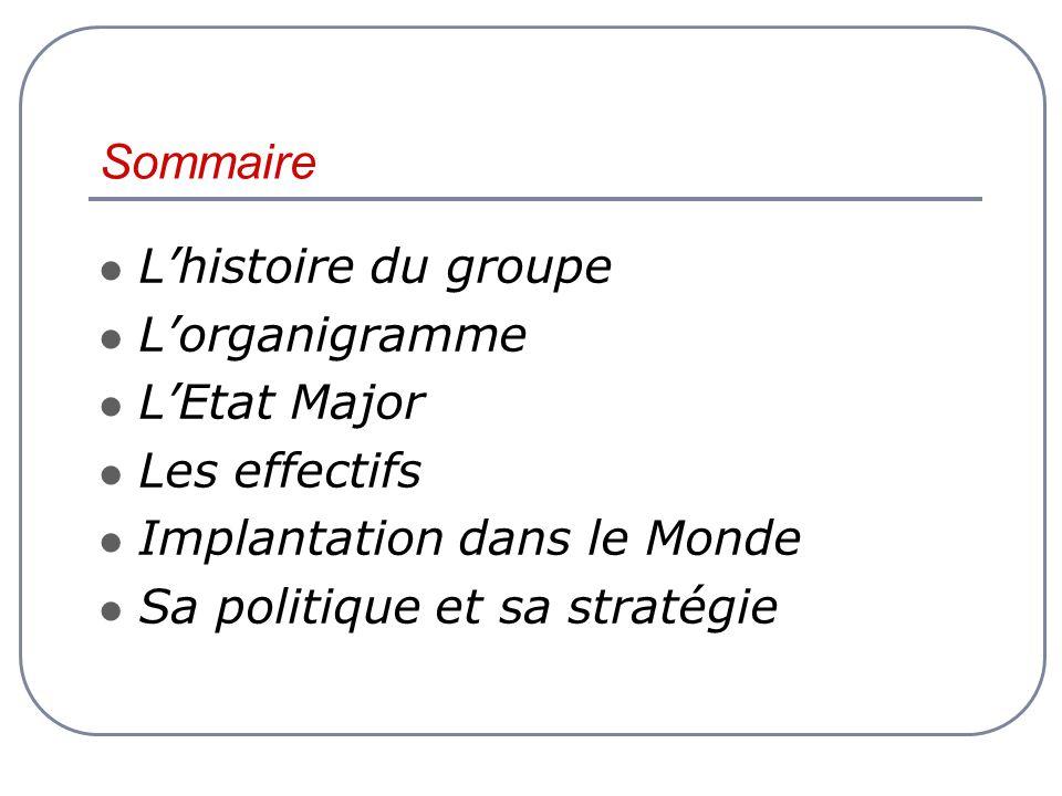 Sommaire Lhistoire du groupe Lorganigramme LEtat Major Les effectifs Implantation dans le Monde Sa politique et sa stratégie
