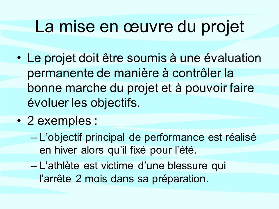 La mise en œuvre du projet Le projet doit être soumis à une évaluation permanente de manière à contrôler la bonne marche du projet et à pouvoir faire évoluer les objectifs.
