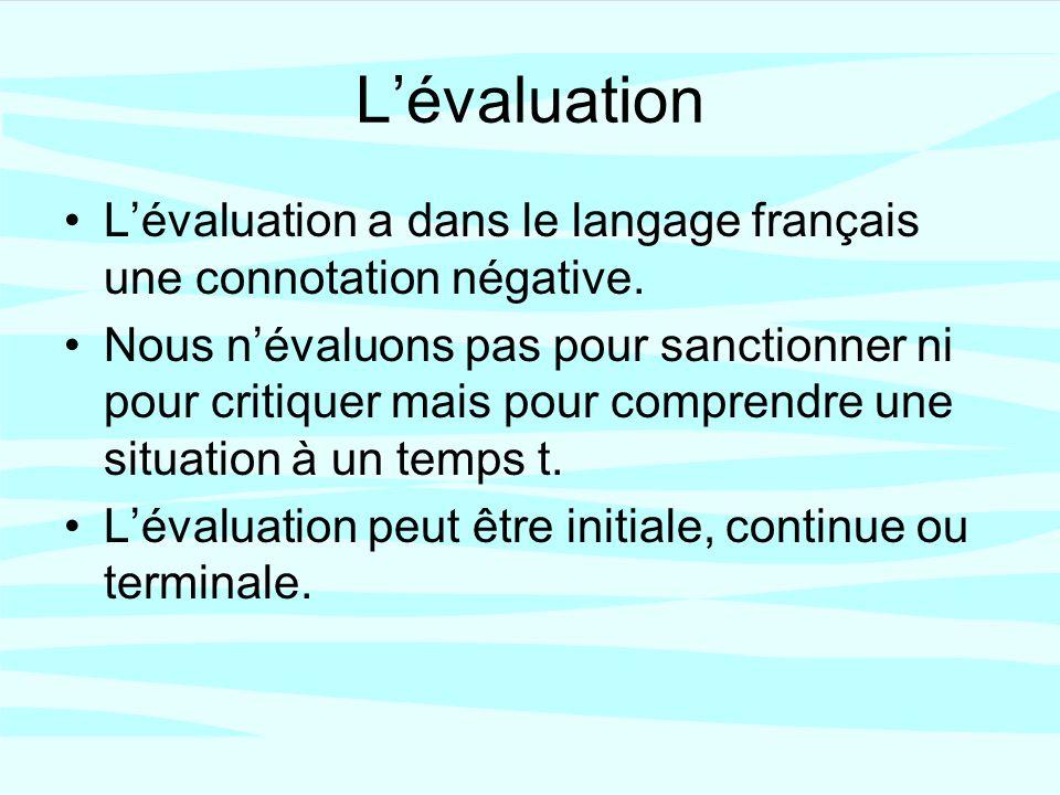 Lévaluation Lévaluation a dans le langage français une connotation négative.