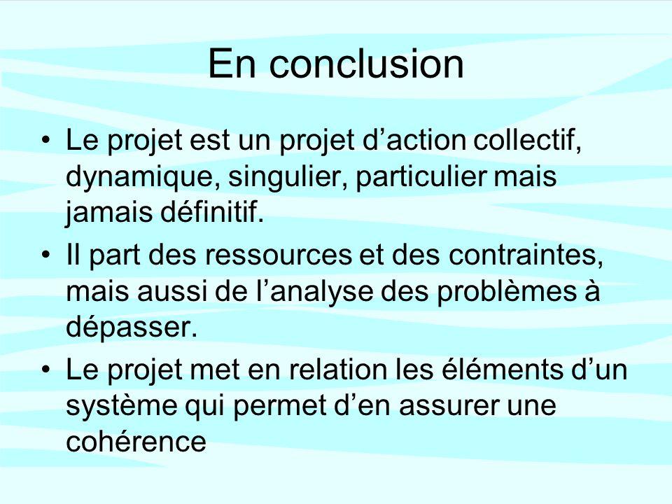 En conclusion Le projet est un projet daction collectif, dynamique, singulier, particulier mais jamais définitif.
