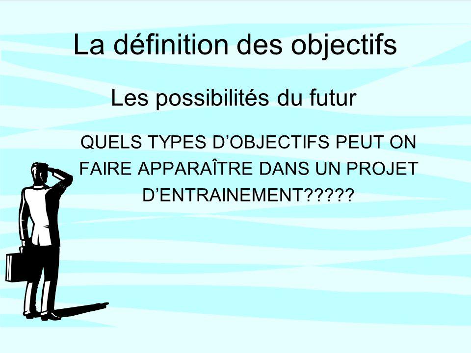 La définition des objectifs QUELS TYPES DOBJECTIFS PEUT ON FAIRE APPARAÎTRE DANS UN PROJET DENTRAINEMENT .