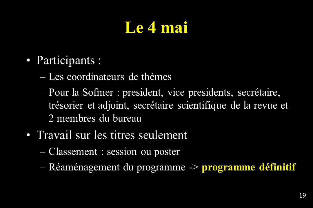 19 Le 4 mai Participants : –Les coordinateurs de thèmes –Pour la Sofmer : president, vice presidents, secrétaire, trésorier et adjoint, secrétaire sci