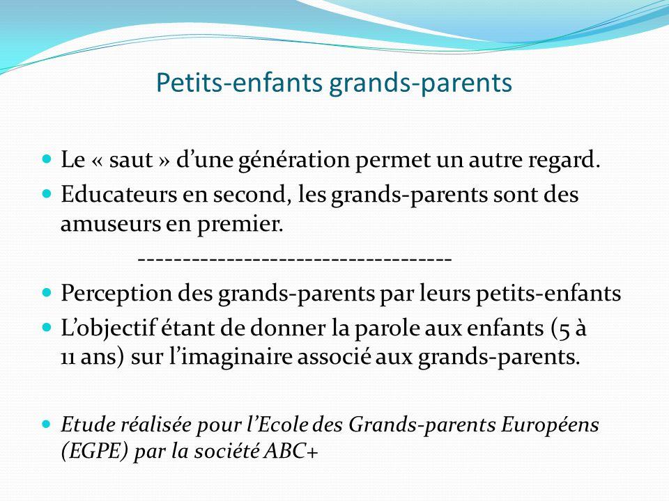 Petits-enfants grands-parents Le « saut » dune génération permet un autre regard.