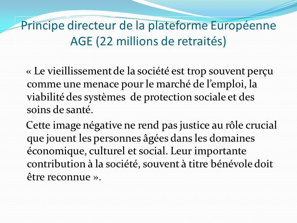 Principe directeur de la plateforme Européenne AGE (22 millions de retraités) « Le vieillissement de la société est trop souvent perçu comme une menace pour le marché de lemploi, la viabilité des systèmes de protection sociale et des soins de santé.