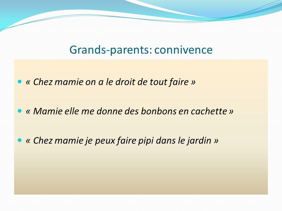 Grands-parents: connivence « Chez mamie on a le droit de tout faire » « Mamie elle me donne des bonbons en cachette » « Chez mamie je peux faire pipi dans le jardin »