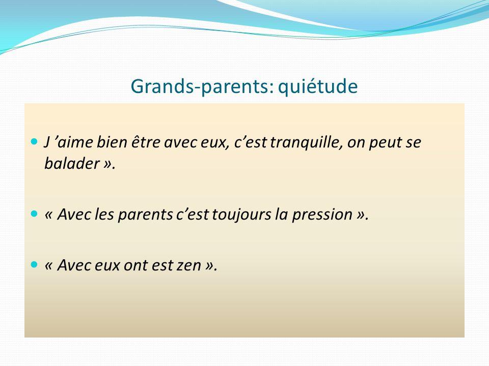 Grands-parents: quiétude J aime bien être avec eux, cest tranquille, on peut se balader ».