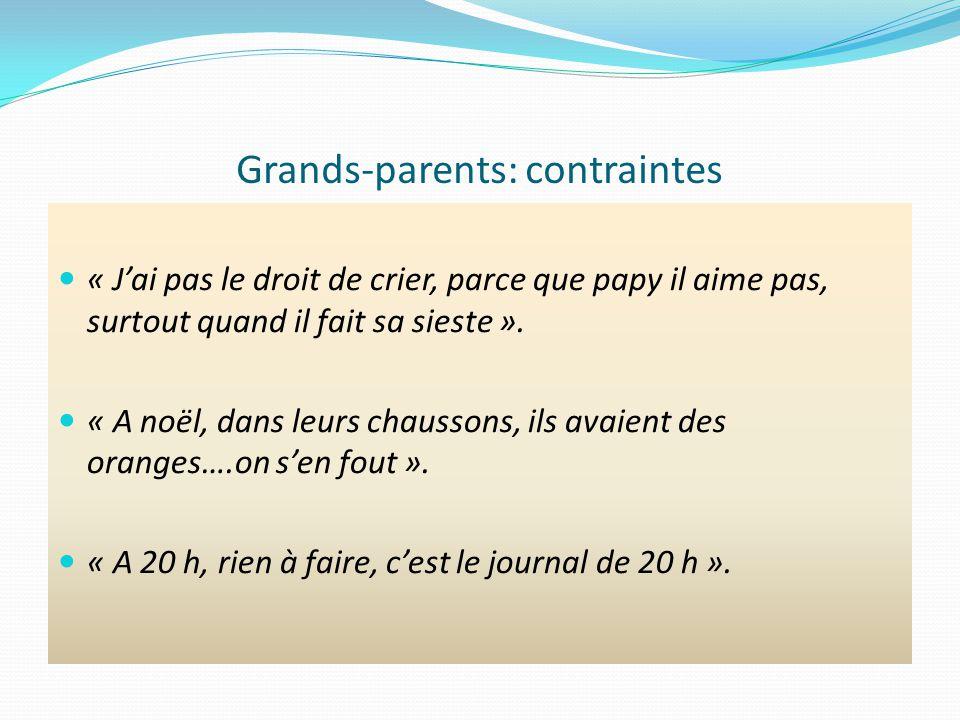Grands-parents: contraintes « Jai pas le droit de crier, parce que papy il aime pas, surtout quand il fait sa sieste ».