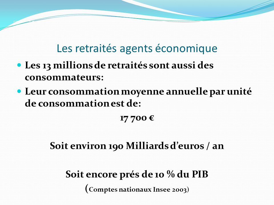 Conclusions de létude Nous sommes uniquement des « retraités du salariat » Dans la société, les retraités jouent un rôle crucial dans les domaines de la citoyenneté, de léconomie et de laction sociale.