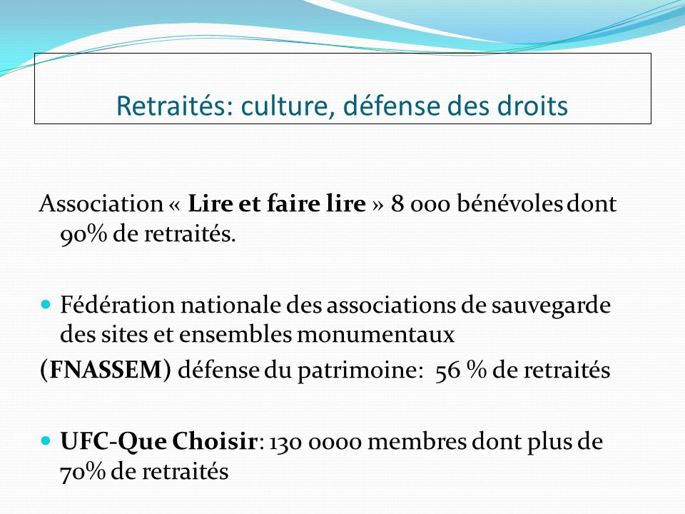Retraités: culture, défense des droits Association « Lire et faire lire » 8 000 bénévoles dont 90% de retraités.