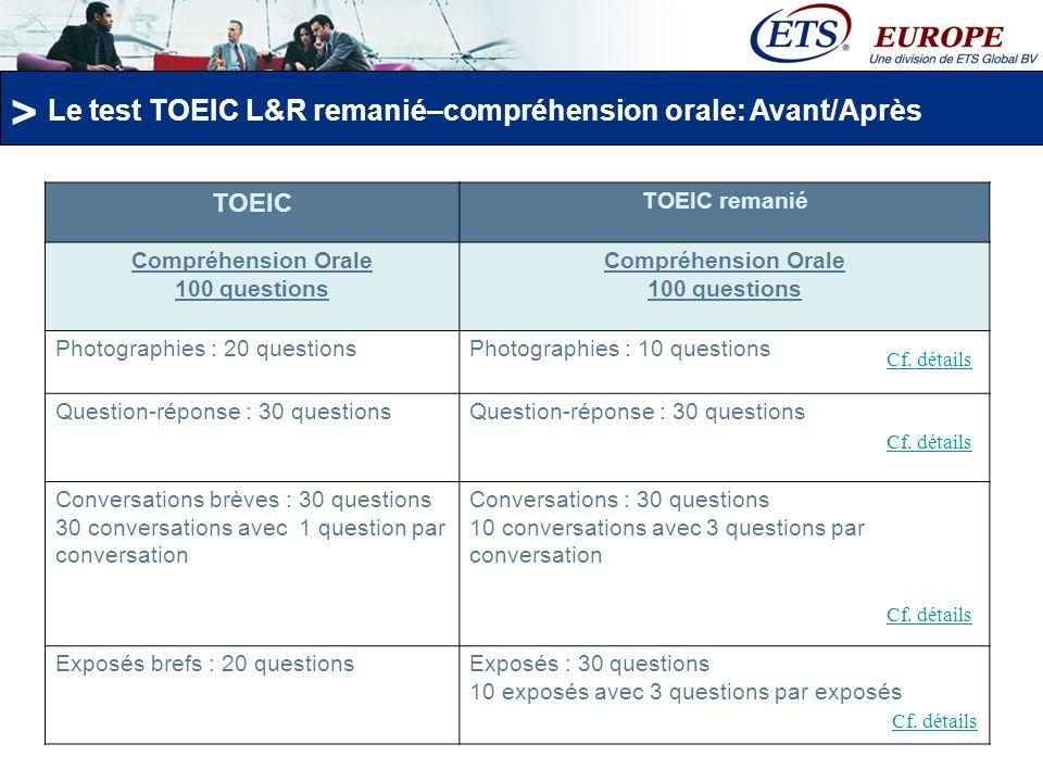 > Le test TOEIC L&R remanié Le remaniement de la compréhension écrite du test TOEIC