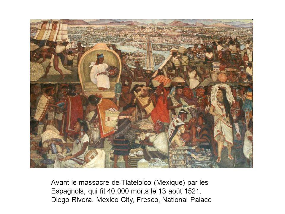 Avant le massacre de Tlatelolco (Mexique) par les Espagnols, qui fit 40 000 morts le 13 août 1521. Diego Rivera. Mexico City, Fresco, National Palace